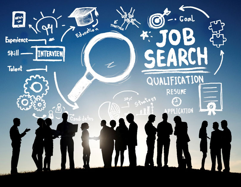 Advertising a job: A group of job seekers networking, discussing how and where to find a job