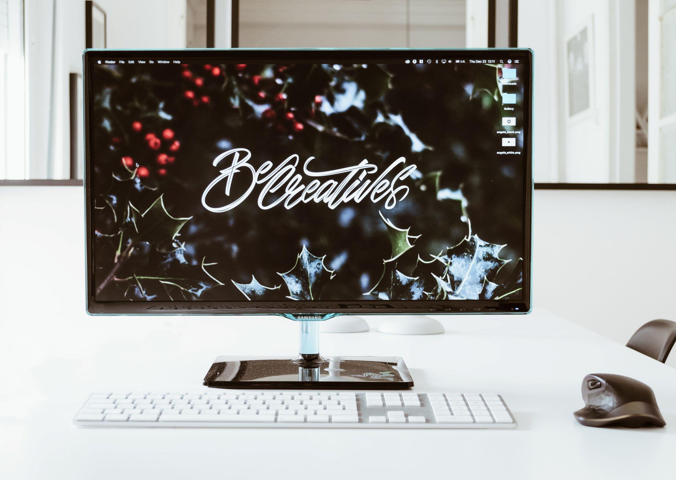 A desktop computer set up for an interview in an office